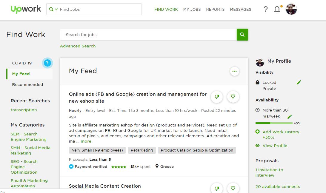 private upwork profile