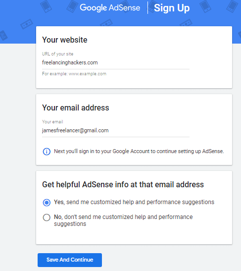 sign up for Google adsense by bloggers
